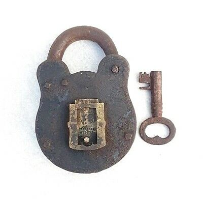 Vintage 1940s Old Antique Iron Lock With Rare Lion Engraved Brass Key Hole Cover