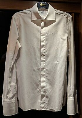 Boggi Milano Mens Formal White Dinner/Dress Shirt Size 15 Collar, 38 Chest