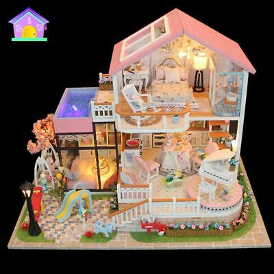 DIY Sweet Wooden Miniature Dollhouse Handmade Assembly Model House Baby Toy Gift