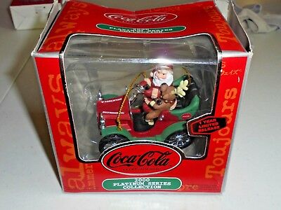 Coca Cola 2000 Platinum Series Collection Santa Reindeer Car Ornament Christmas