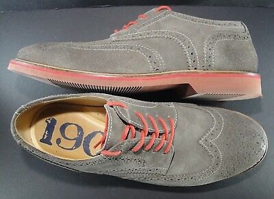 5ee5963c85d Nordstrom 1901 Gray Wingtip Oxfords Red Laces Size 10 M Made in Brazil  Leather