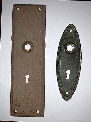 2 vintage Back Plates for door knobs, one is XL 10""