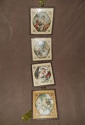 """Beckard Line from Germany Set of 4 small 4""""x 4.5"""" Pictures Raised Glass"""