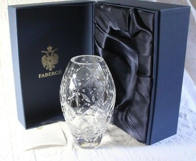 Faberge Atelier Cut Crystal Vase in Presentation Box ~ Signed