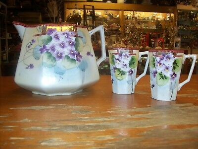Vintage NIPPON Moriage Hand Painted Porcelain Lemonade Set Pansies Violets