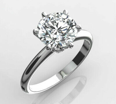 Diamond Solitaire Ring 2 Carat Si1 F Round 14K White Gold 6 Prong Pin Bridal