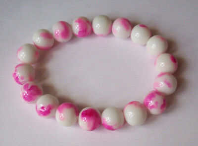 New Hot Pink & White Spattered Bracelet, Buy 2 Get 3Rd Free