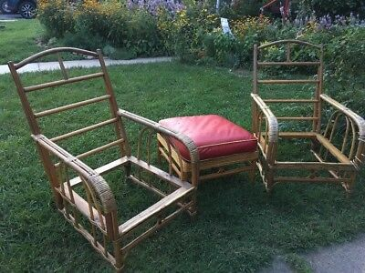 Vintage 1940s BAMBOO RATTAN Bent Wood Furniture Set 2 Chairs 1 Ottoman