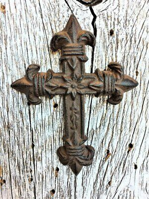 Cross  Cast Iron Wall Decor  Christian Fluer De Lis Decorative Antique Replica