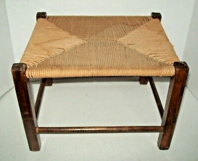 Vintage antique Bench ottoman FOOT STOOL WOVEN CANE  Rush Seat wooden wood