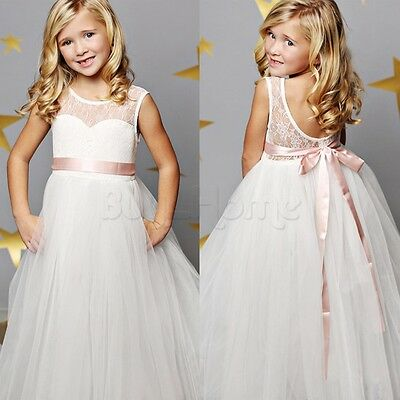 Flower Girl Dress Princess Vintage Occasion Pageant Party Wedding Lace Maxi Sash