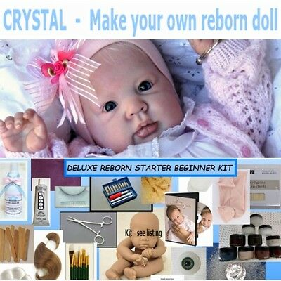 """Unpainted complete reborn doll kit to make your own baby doll Crystal 21"""" Deluxe"""