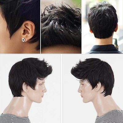 Handsome Boys Wig Fashion Short Men Natural Black Hair Cosplay Wigs Lace Front