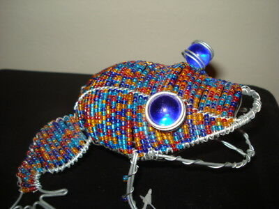 """African Handmade Multi-Colored Glass Bead & Wire 7"""" FROG Sculpture w/ TAG!"""