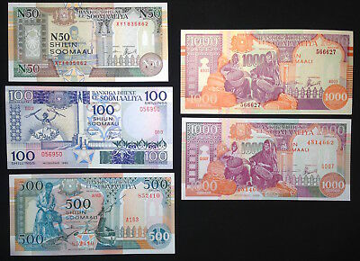 Somalia, Central Bank, 50-1000 Shillings, 1983-96, Lot of 5 notes all UNC