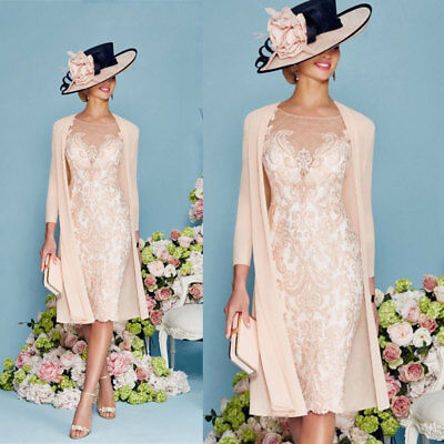 Womens Pink Knee Length Bridal Mother Dresses With Chiffon Jacket 2 Piece Formal