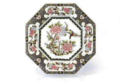 Vtg Octagonal Gray And White Porcelain Plate With Chrysanthemums And Birds Japan