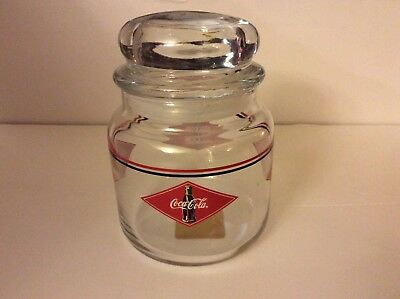 COCA COLA Advertising Glass Candy Jar Vacuum Seal Cover, Anchor Hocking NOS