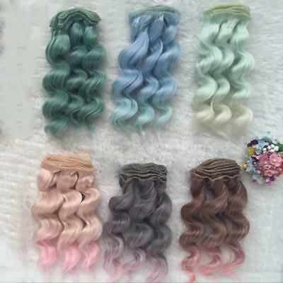 15cm LONG DIY Colorful Ombre Curly Wave Doll Wigs Synthetic Head Hair Doll Uylj