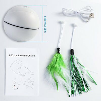 360 Degree Self Rotating LED Pet Cat Ball USB Rechargeable Cat Chaser Ball Toy