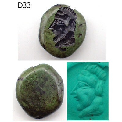 Rare Stunning Old Intaglio Greek King Face Turquoise Stone Bead #D33