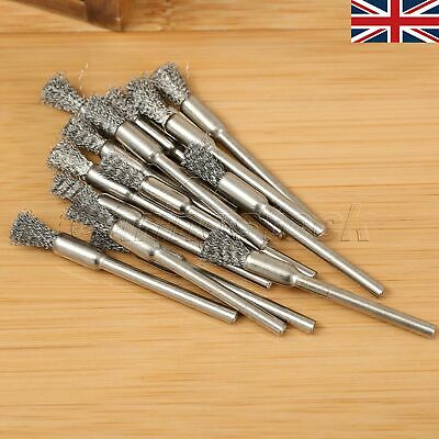 15 PCS Pencil Steel Wire Cup Brush Shank Rotary Tool For Drill Rust Polishing