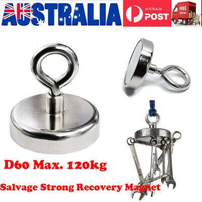 120Kg Salvage Strong Recovery Magnet Neodymium Hook Treasure Hunting Fishing AU