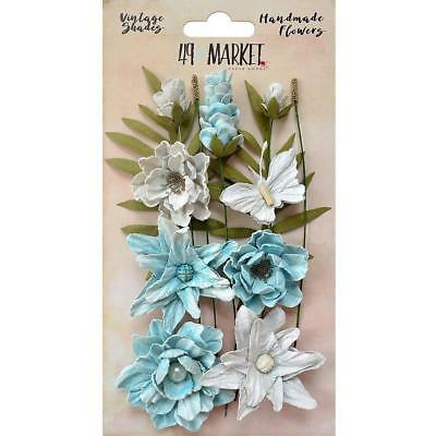 49 and Market Flowers VINTAGE SHADES Cluster ~ BLUE ~ 13 Handmade Pieces
