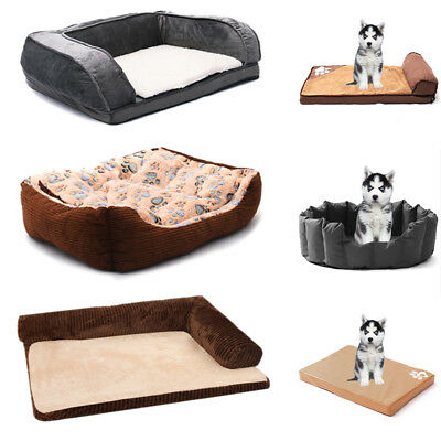 Dog Mattress Cat Soft Warm Bed Washable Large Deluxe Fleece Padded Pet S-XL Mats
