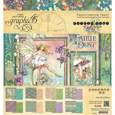 """Graphic 45 G45 Paper Pad 8"""" x 8"""" ~ FAIRIE DUST ~ 24 double sided pages"""