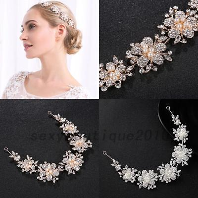 Bridal Rhinestone Pearl Tiara Hair Vine Headdress Headpiece 2 colors US Local