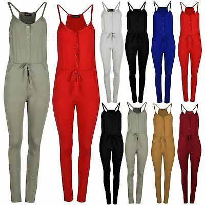 Womens Ruched Cami Button Muscle Sleeveless Back Pockets Strappy Maxi Jumpsuit