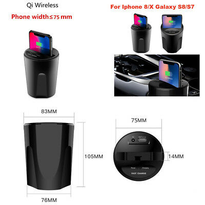 Car Cup Mount Holder USB Port Qi Wireless Charger For Iphone 8/X Galaxy S8/S7