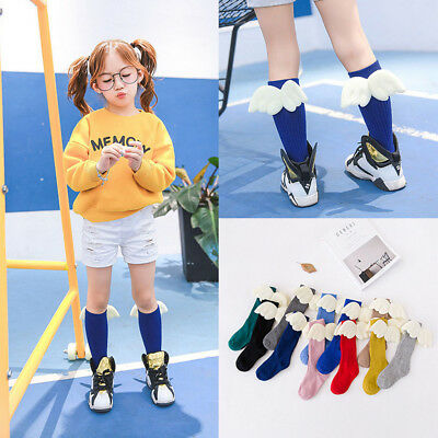 Fashion Girls Kids Angel Wings Stocking Knee Socks Boys Tube Socks Princess Baby