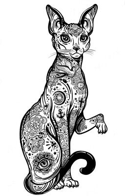 High Quality 9cm x 4.5cm Fake Tattoo Vintage Gothic Cat Waterproof Temporary Art