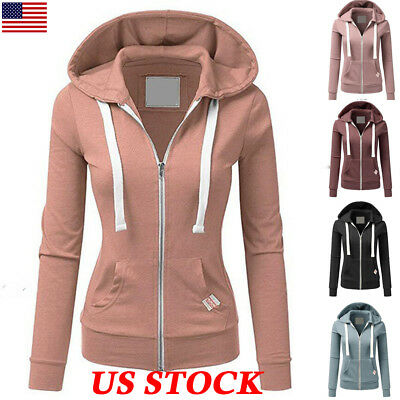 Women Zipper Tops Hoodie Ladies Hooded Sweatshirt Coat Jacket Casual Slim Jumper