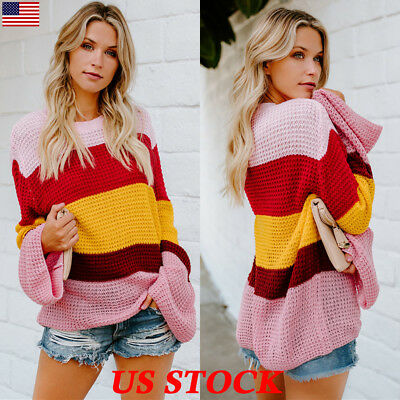 Autumn Winter Womens Long Sleeve Sweater Tops Colorful Striped Loose Jumpers USA