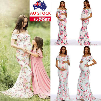 Pregnant Women Floral Off Shoulder Maxi Dress Gown Photography Maternity Dress