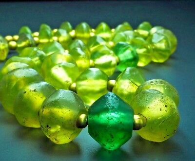 Splendid Original Ancient Indus Valley Light Green Glass Beads 800 yrs Old REAL!