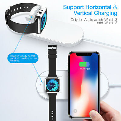 For Apple Watch 2 3 iPhone X 8 Qi Wireless Charger Charging Pad Charge Station
