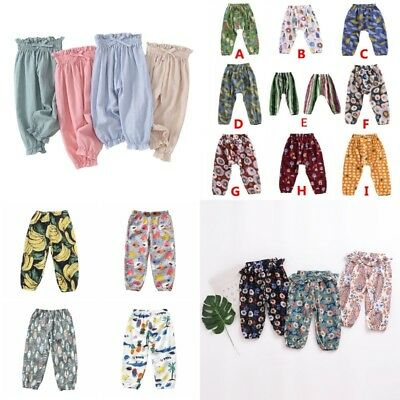 Toddler Kid Baby Boho Floral Mosquito Harem Pants Trousers Cotton Soft Pant AU
