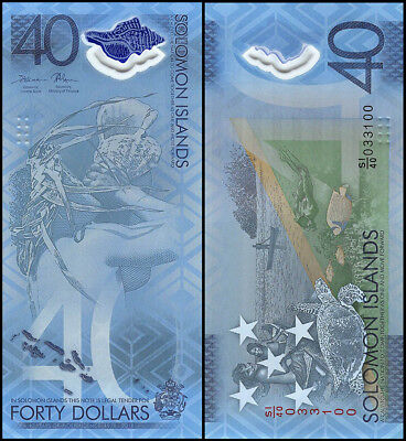 Solomon Islands 40 Dollars Banknote, 2018, P-NEW, UNC, Polymer, Turtle, Canoe