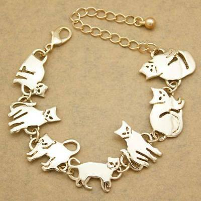 Egyptian Style Gold Plated Charm Chain Link Cat Bracelet