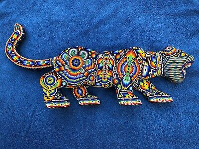 Beaded Huichol Jaguar Hand Made Mexican Folk Art from Puerto Vallarta