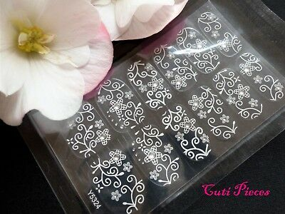 Nail Self Adhesive Full Nail Polish Wrap Sticker White Rhinestone Lace Decal L7