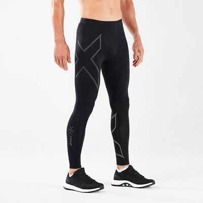 2XU Mens MCS Run Compression Tights Bottoms Pants Trousers Black Sports Running