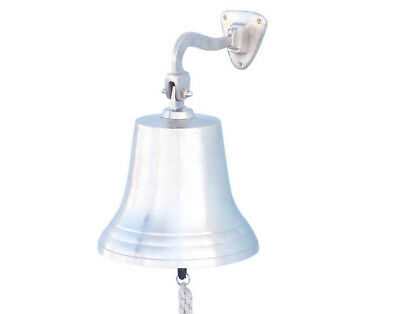 "Brushed Nickel Solid Aluminum Ship's Bell 10"" Nautical Hanging Wall Decor New"