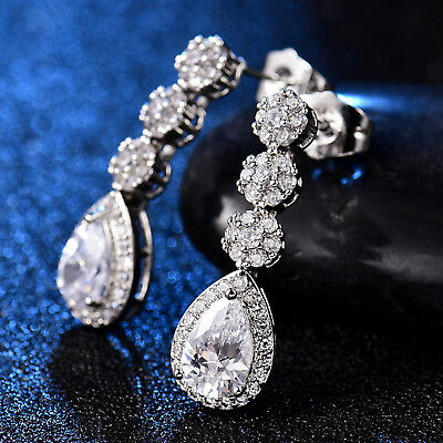 Dangle Stud Pear Crystal Sapphire Silver Gold Filled Women Lady Bridal Earrings