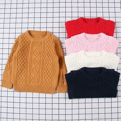 Children Baby Kids Girl Boy Knitted Sweater Sewing Cardigan  Outfit Clothes L0