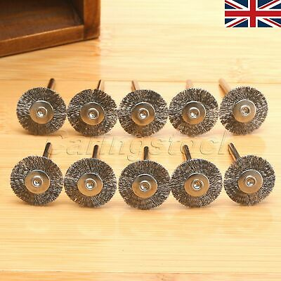 UK 10Pcs Wire Stainless Steel Brushes Wheels Rotary Tool For Die Grinder Dremel